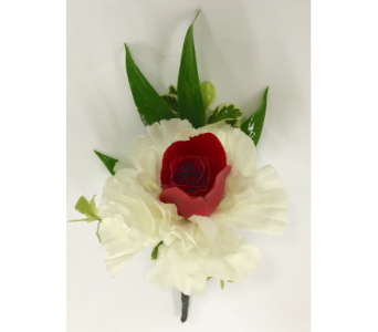 White Carnations with Red Rose Center Boutonniere in Wyoming MI, Wyoming Stuyvesant Floral