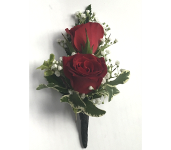 Double Red Sweetheart Rose Boutonniere in Wyoming MI, Wyoming Stuyvesant Floral