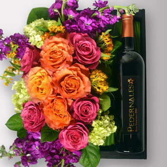 La Bonita Flowers & Wine Gift Box in Dallas TX, Dr Delphinium Designs & Events