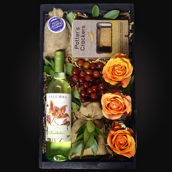 White Vineyard Wine Gift Basket in Dallas TX, Dr Delphinium Designs & Events