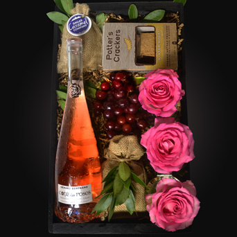 Pink Vineyard Wine Gift Basket in Dallas TX, Dr Delphinium Designs & Events