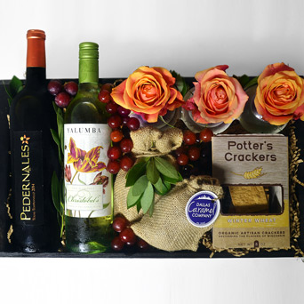 Vino Duet Wine Gift Basket in Dallas TX, Dr Delphinium Designs & Events