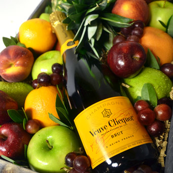 Joie de Vivre Fruit & Champagne Basket  in Dallas TX, Dr Delphinium Designs & Events