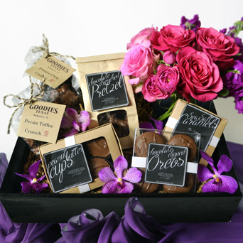 Decadence Chocolate & Flowers Gift Basket in Dallas TX, Dr Delphinium Designs & Events