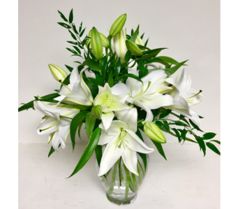 6 Stems of White Oriental Lilies in 11 Inch Vase in Wyoming MI, Wyoming Stuyvesant Floral