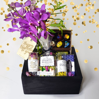Petal Confetti Birthday Gift Basket in Dallas TX, Dr Delphinium Designs & Events