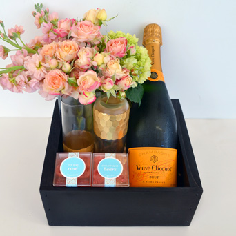 Bubbles & Blooms Champagne Gift Basket in Dallas TX, Dr Delphinium Designs & Events