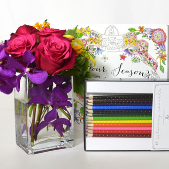 Happy Thoughts Coloring Book & Flowers Set in Dallas TX, Dr Delphinium Designs & Events