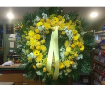 Wreath of All Yellow Mixed Flowers  in Manhasset NY, Town & Country Flowers