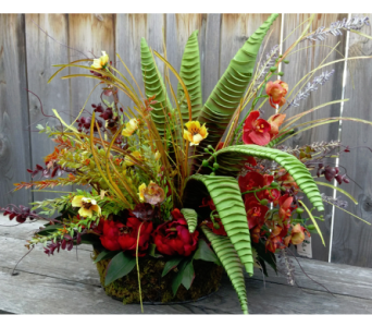 Fall Silk in Wire Basket in Lawrence KS, Owens Flower Shop Inc.