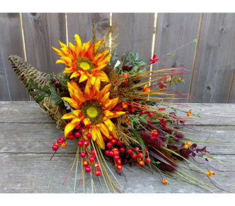 Fall Silk Cornucopia with Sunflowers in Lawrence KS, Owens Flower Shop Inc.