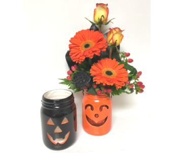 Jack-O-Lantern Mason Jar - 2 Colors Available in Wyoming MI, Wyoming Stuyvesant Floral