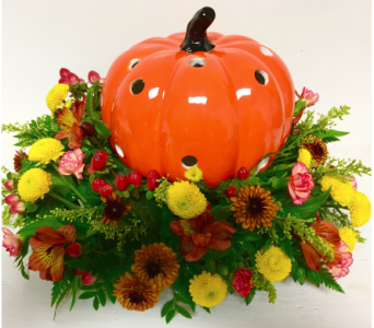 Orange Ceramic Pumpkin Centerpiece in Wyoming MI, Wyoming Stuyvesant Floral