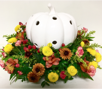White Ceramic Pumpkin Centerpiece in Wyoming MI, Wyoming Stuyvesant Floral