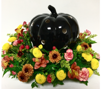 Black Ceramic Pumpkin Centerpiece in Wyoming MI, Wyoming Stuyvesant Floral