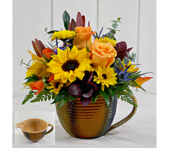 Golden Gratitude Measuring Cup in Pendleton IN, The Flower Cart