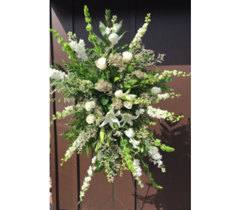 Whitegreen Standing Spray in Statesville NC, Brookdale Florist, LLC