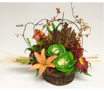Ornamental Cabbage Fall Arrangement-10 inch basket in Wyoming MI, Wyoming Stuyvesant Floral