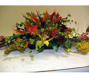 Fall Tropcial Centerpiece in Blue Bell PA, Country Flower Shoppe