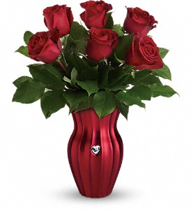 Teleflora's Heart Of A Rose Bouquet in Blacksburg VA, D'Rose Flowers & Gifts