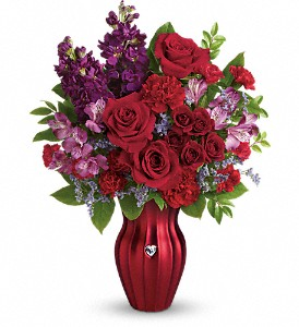 Teleflora's Shining Heart Bouquet in Newburgh NY, Foti Flowers at Yuess Gardens