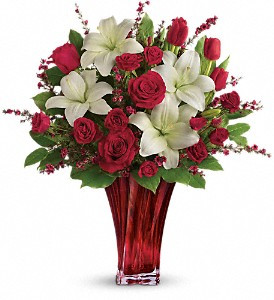 Love's Passion Bouquet by Teleflora in The Woodlands TX, Rainforest Flowers