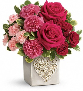Teleflora's Swirling Heart Bouquet in Columbia Falls MT, Glacier Wallflower & Gifts