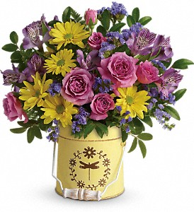 Teleflora's Blooming Pail Bouquet in Charleston WV, Food Among The Flowers