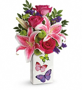 Teleflora's Brilliant Butterflies Bouquet in Madill OK, Flower Basket