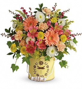 Teleflora's Country Spring Bouquet in Redwood City CA, A Bed of Flowers