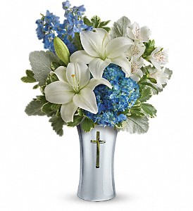 Teleflora's Skies Of Remembrance Bouquet in Bloomington IL, Forget Me Not Flowers