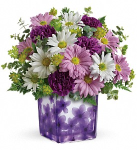 Teleflora's Dancing Violets Bouquet in Jamesburg NJ, Sweet William & Thyme