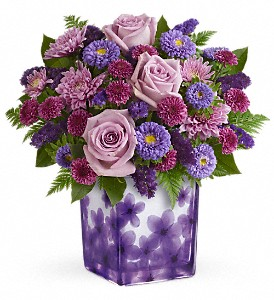 Teleflora's Happy Violets Bouquet in Islandia NY, Gina's Enchanted Flower Shoppe