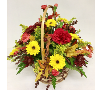 Fall Basket Centerpiece - 8 inch handled basket in Wyoming MI, Wyoming Stuyvesant Floral