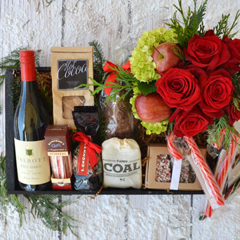 Naughty & Nice Flowers, Wine & Sweets Gift Basket in Dallas TX, Dr Delphinium Designs & Events