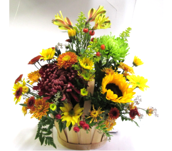 Natural Slatted Basket Centerpiece in Worcester MA, Holmes Shusas Florists, Inc