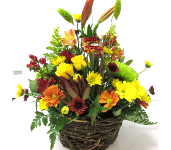 Willow Basket Centerpiece in Worcester MA, Holmes Shusas Florists, Inc