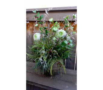 White Ranunculus & Crystals in Lawrence KS, Owens Flower Shop Inc.