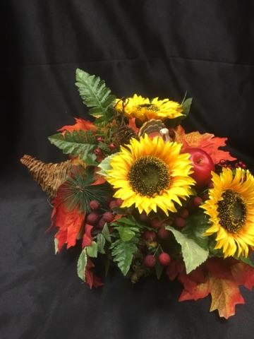 Silk Cornucopia arrangment with sunflowers in Sitka AK, Bev's Flowers & Gifts