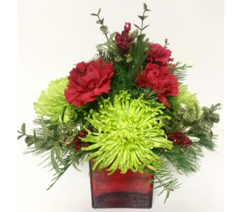 Red Mirrored Cube Christmas Centerpiece in Wyoming MI, Wyoming Stuyvesant Floral