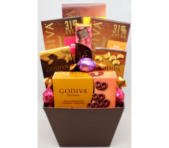 Couture Godiva Chocolate Basket in Chicago IL, La Salle Flowers