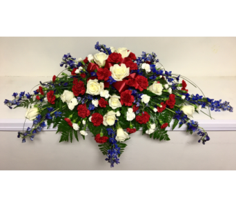 Red, White, and Blue Casket Spray in Wyoming MI, Wyoming Stuyvesant Floral