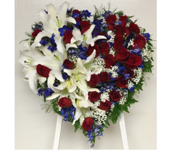 Red, White & Blue 18 inch Solid Heart-White Easel in Wyoming MI, Wyoming Stuyvesant Floral