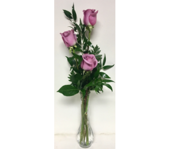 Budvase with Three Lavender Roses in Wyoming MI, Wyoming Stuyvesant Floral