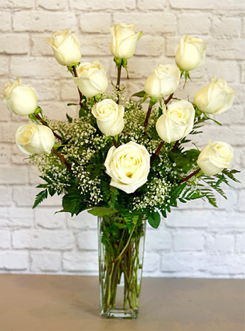 One Dozen Deluxe White Roses in Fort Myers FL, Fort Myers Floral Designs