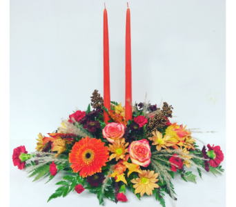 Orange Traditions with Orange Candles Centerpiece in Wyoming MI, Wyoming Stuyvesant Floral