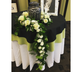 Ring of Garland with White Roses in Wyoming MI, Wyoming Stuyvesant Floral