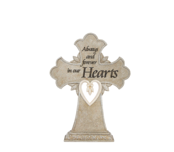 Luminous Garden Heart Pedestal Cross in Mayfield Heights OH, Mayfield Floral