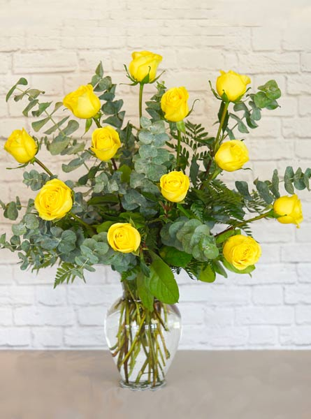 One Dozen Premium Yellow Roses in Raleigh NC, Fallon's Flowers
