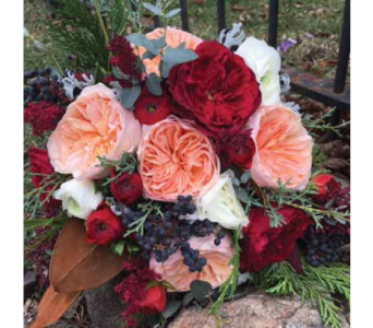 Royal Red & Peach Bouquet in Chelsea MI, Chelsea Village Flowers